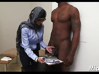 Black and white dongs get jerked by a lustful and busty arab babe